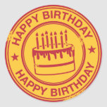 Happy Birthday -red rubber stamp effect- Round Stickers
