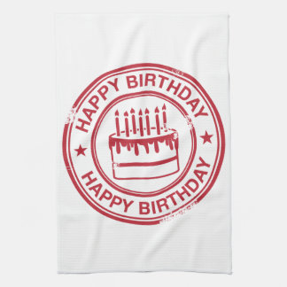 Happy Birthday -red rubber stamp effect- Towel