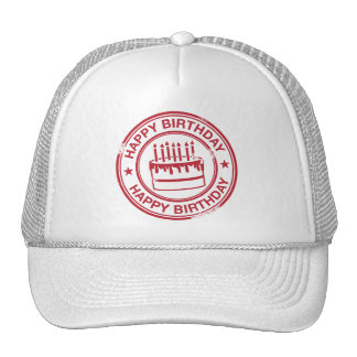 Happy Birthday -red rubber stamp effect- Trucker Hat