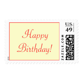 Happy Birthday Red Script Wording Plain and Simple Postage