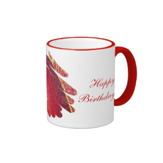 Happy Birthday Red Spirals Art Chakra Ringer Mug