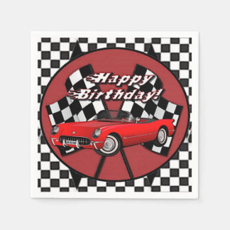 Happy Birthday Red Sports Car Napkins Disposable Napkin