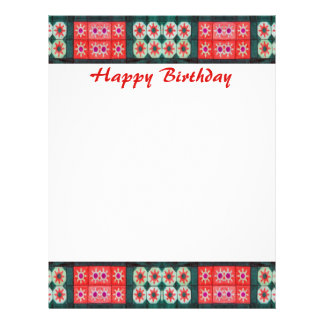 """Happy Birthday Red Teal 8.5"""" X 11"""" Flyer"""