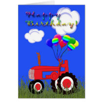 Happy Birthday Red Tractor Card