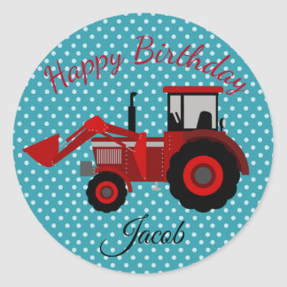 Happy Birthday Red Tractor Classic Round Sticker