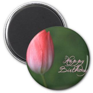 happy birthday red tulip flower 2 inch round magnet