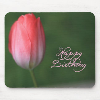 happy birthday red tulip flower mouse pad