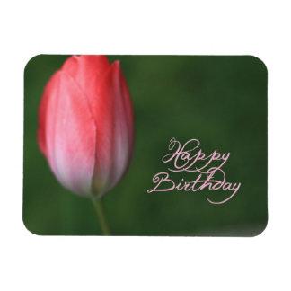 happy birthday red tulip flower rectangular photo magnet