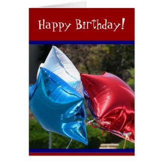 Happy Birthday Red White and Blue balloons card