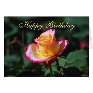 Happy Birthday Red Yellow and White Rose Card