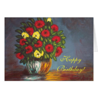 Happy Birthday Red Yellow Flowers Vase Card