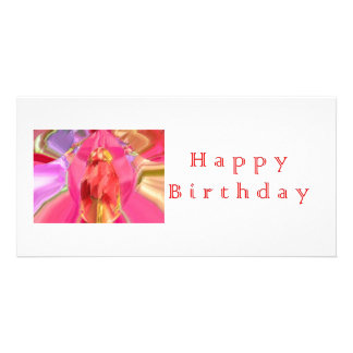 Happy Birthday RedRose PinkRose Petal Art Card