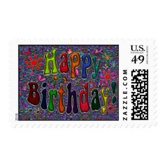 Happy Birthday Retro Floral Art Stamp