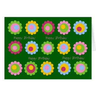 Happy Birthday Retro Flowers Greeting Card