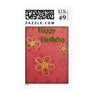 Happy Birthday, Retro Look Stamps
