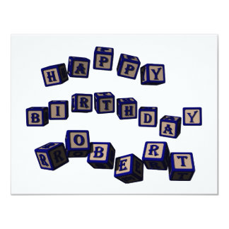 Happy Birthday Robert toy blocks in blue. Card