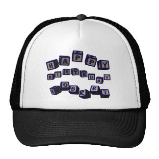 Happy Birthday Robert toy blocks in blue. Trucker Hat