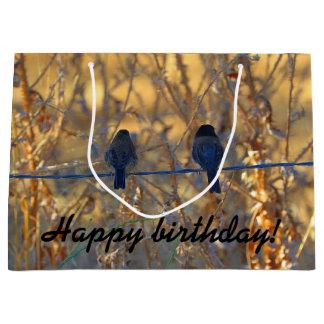 Happy Birthday Romantic sparrow bird couple, Photo Large Gift Bag