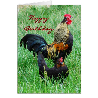 Happy Birthday Rooster and Hen Greeting Card
