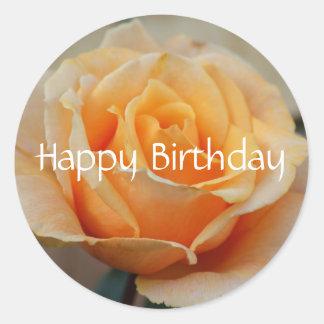 Happy Birthday, rose in peach Classic Round Sticker