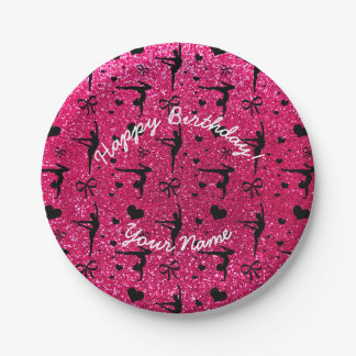 Happy Birthday rose pink glitter gymnastics Paper Plate
