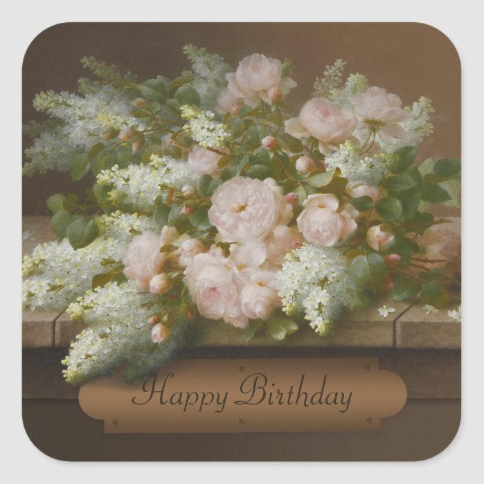 Happy Birthday Roses and Lilacs CC0884 Longpré Square Sticker
