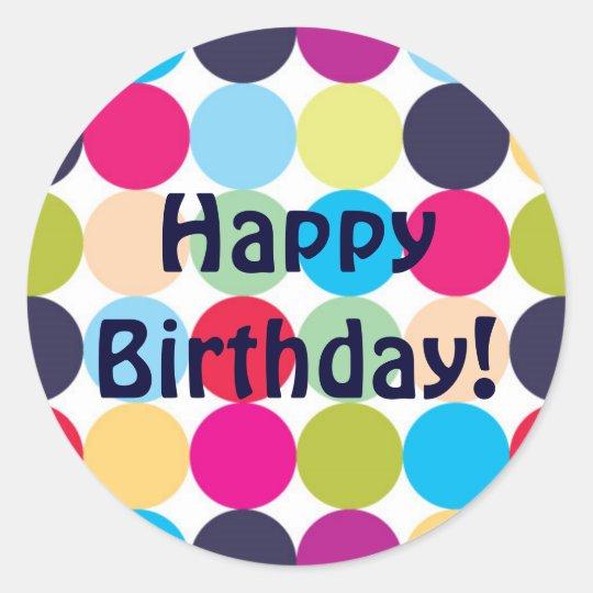 Happy Birthday - Round Sticker