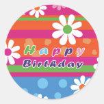Happy Birthday Round Stickers