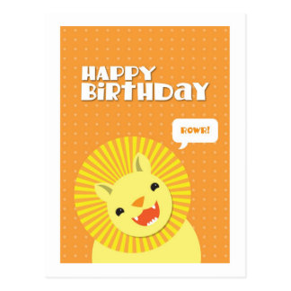 Happy Birthday Rowr Lion Postcard