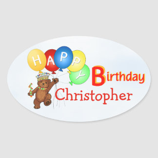 Happy Birthday Royal Bear Oval Sticker