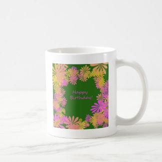Happy Birthday Rretro flower power green,pink Coffee Mug