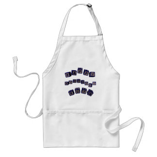 Happy Birthday Ruth toy blocks in blue. Adult Apron