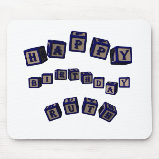 Happy Birthday Ruth toy blocks in blue. Mouse Pad