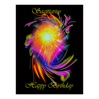 Happy Birthday Sagittarius Póster
