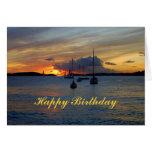 Happy Birthday Sailboats at Sunset Card