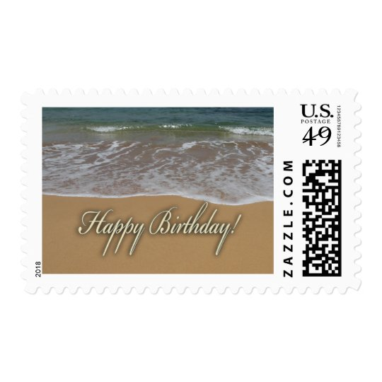 Happy Birthday Sand Beach Postage