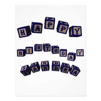 Happy Birthday Sandra toy blocks in blue. Letterhead