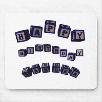 Happy Birthday Sandra toy blocks in blue. Mouse Pad