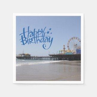 Happy Birthday Santa Monica Pier Paper Napkins