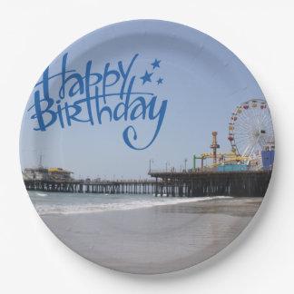 Happy Birthday Santa Monica Pier Paper Plate