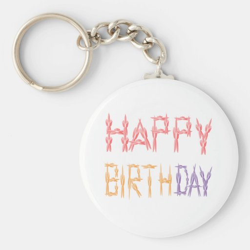 Happy Birthday Script - Flower Pattern Art Keychains