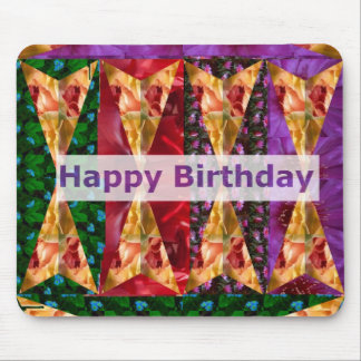 HAPPY Birthday Script : Golden Flower Art Mouse Pad