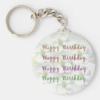 Happy Birthday Script : On Lilly Flower Base Key Chains
