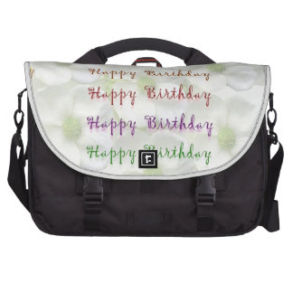 Happy Birthday Script : On Lilly Flower Base Laptop Bag