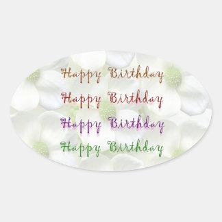 Happy Birthday Script : On Lilly Flower Base Oval Sticker