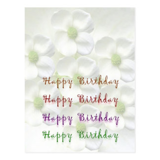 Happy Birthday Script : On Lilly Flower Base Postcard
