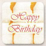 HAPPY Birthday Script : SAFFRON Pure Crystal Drink Coasters