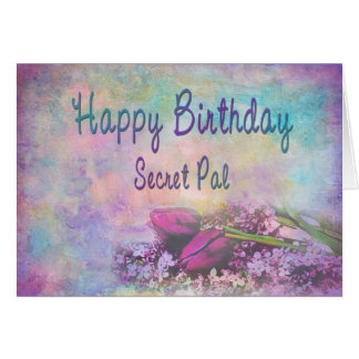 HAPPY BIRTHDAY SECRET PAL - Soft Floral Elegance Greeting Card