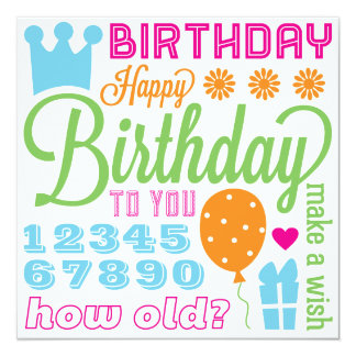 Happy Birthday Sentiments Card or Invitation