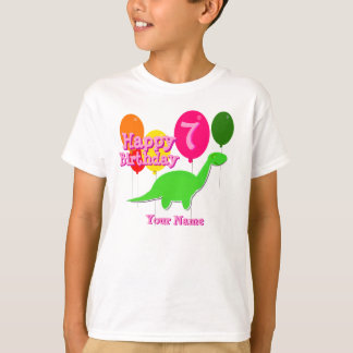 Happy Birthday Seven Party Balloon Green Dino Tee